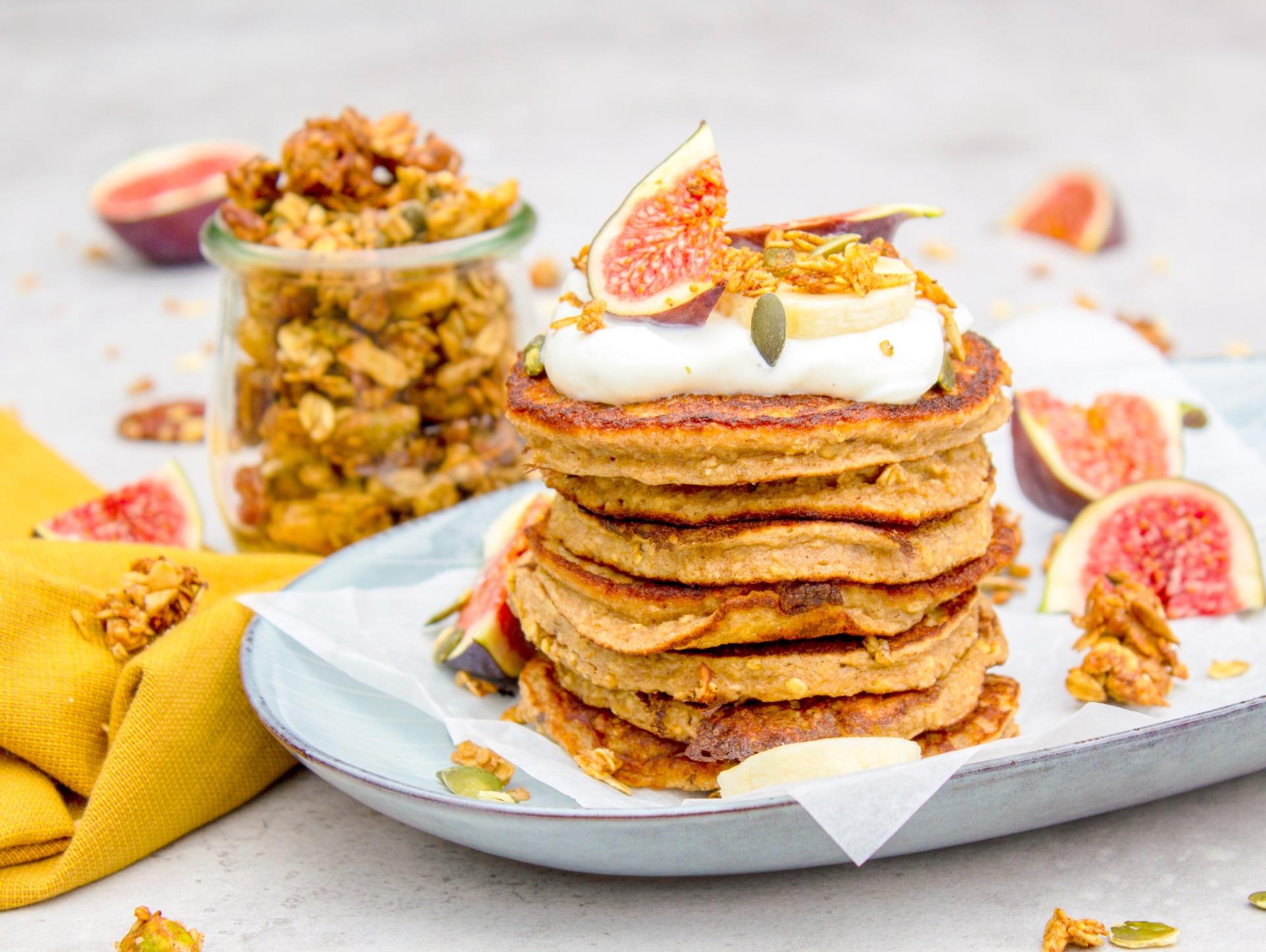 American pancakes met banaan