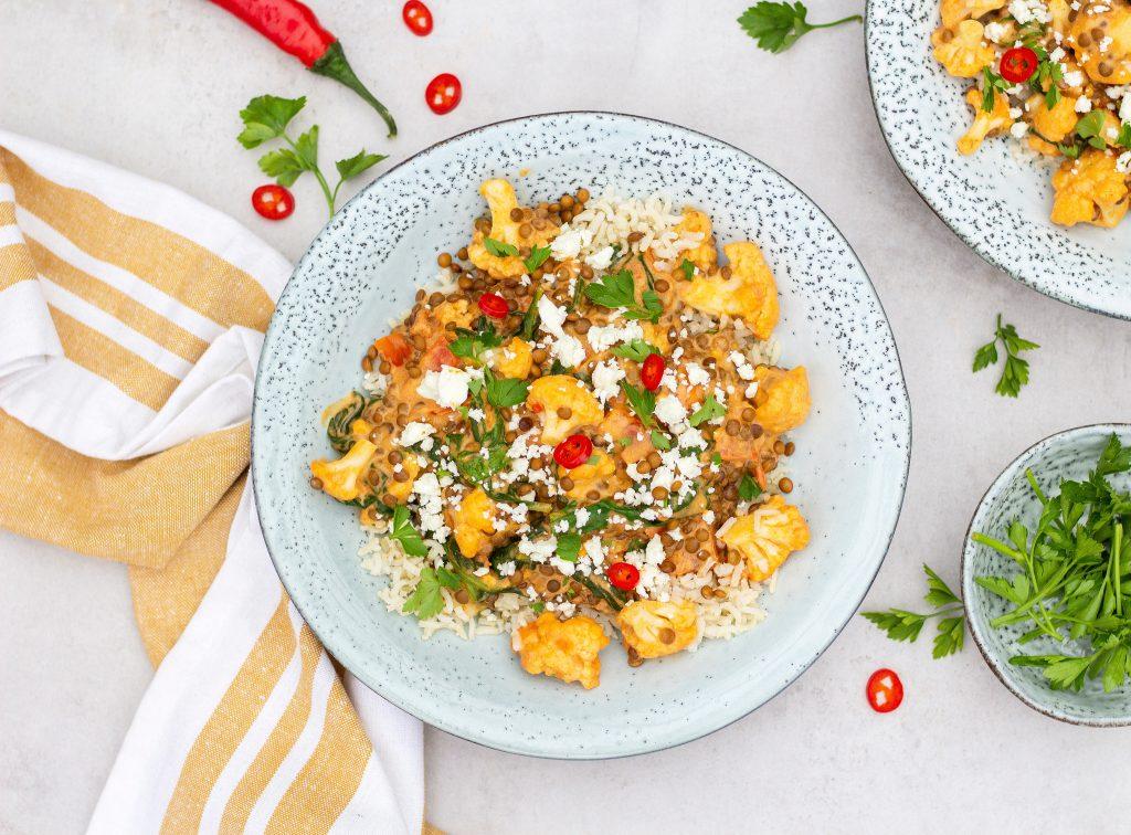 bloemkool curry met linzen