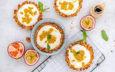 Granola ontbijttaartjes met passievrucht