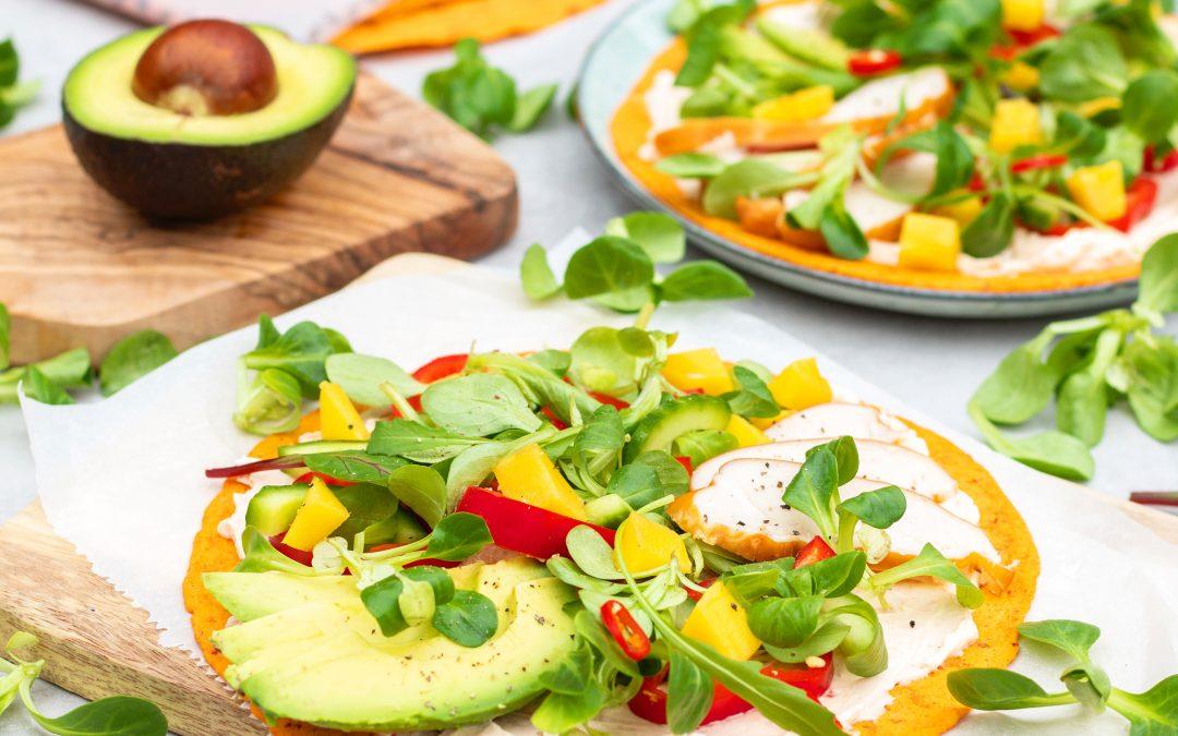 Paprika chili wraps met kip en mango