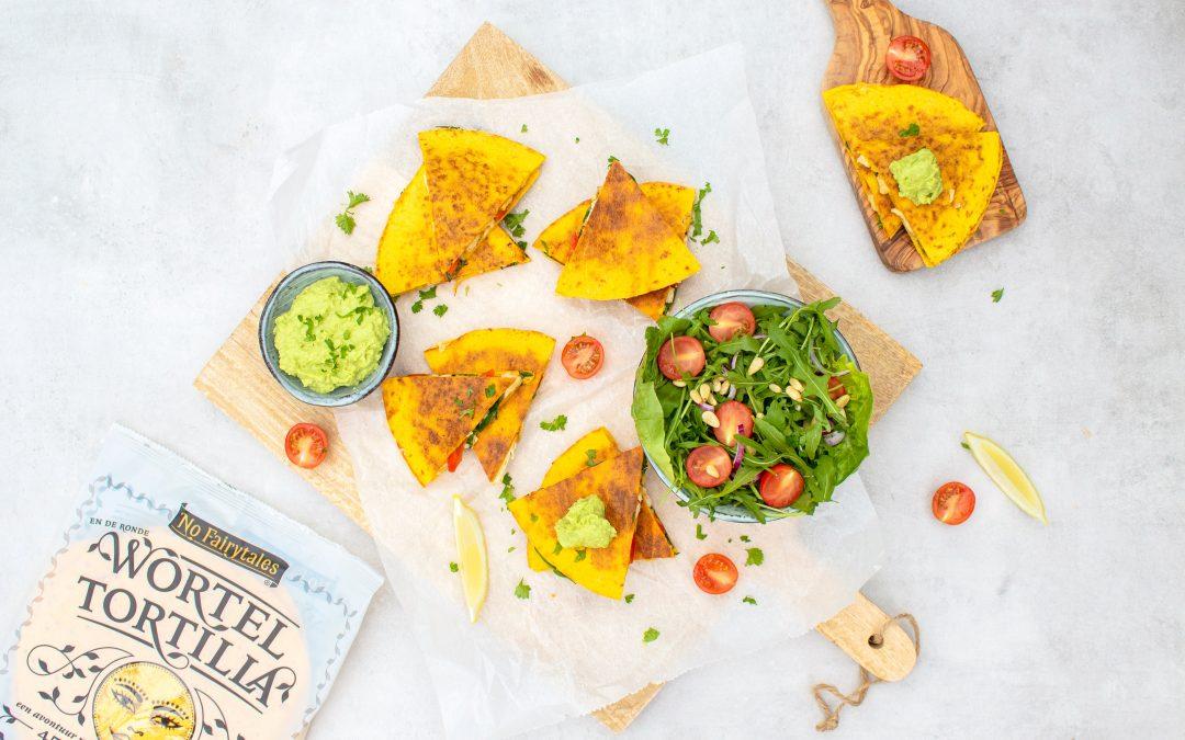 Quesadillas met kip en spinazie