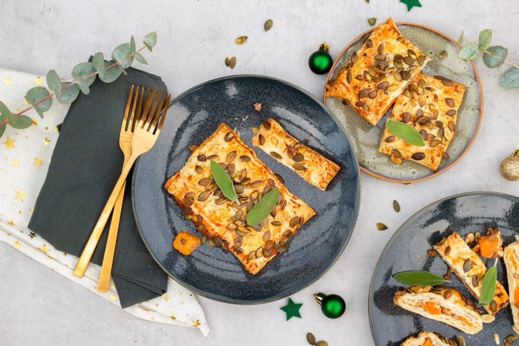 Vegetarische pompoen strudel kerst foodlies