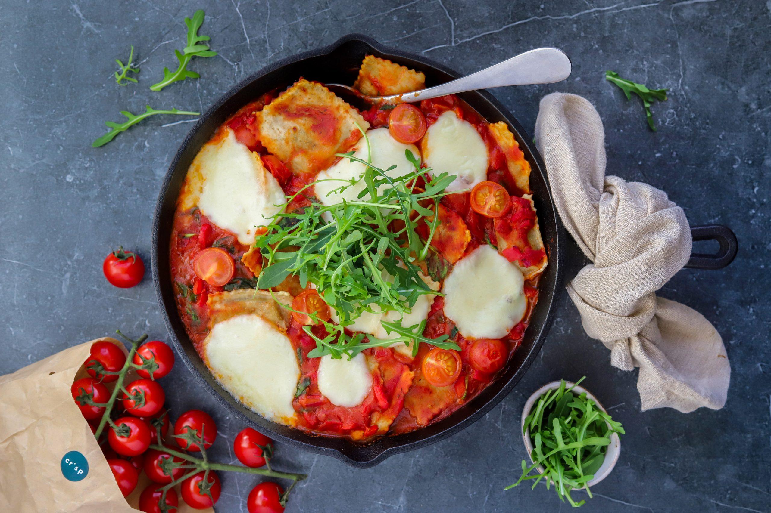 Volkoren ravioli uit de oven crisp
